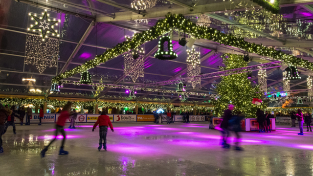 The indoor ice skating rink